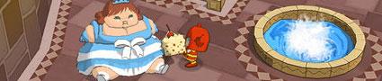 Red warrior feeding Blue princess.
